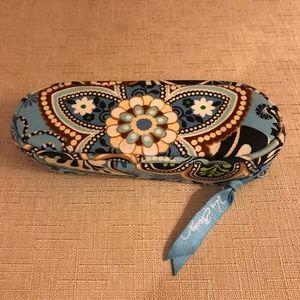 Vera Bradley Aqua Blue & Brown Zipper Case.